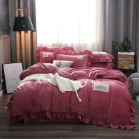 加厚保暖宝宝绒四件套1.8m秋冬水晶绒被套床单纯色公主风床上用品