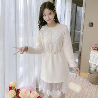 气质女装长袖蕾丝连衣裙春季2019新款韩版冬季裙子中长款打底裙潮