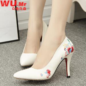 乌龟先森 婚鞋 女士新品名族风绣花高跟细跟单鞋女式新娘伴娘鞋子