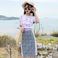 20180825193612235~韩版时尚休闲套装夏装甜美订珠紫色字母T恤+半身裙 白T+格子裙