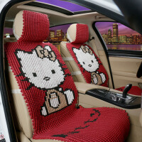 卡通汽车坐垫全包夏季KT手编冰丝凉垫朗逸速腾亚麻四季通用可爱女 红色 K猫大红色