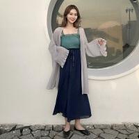 韩版时尚休闲套装夏装女装雪纺抹胸吊带+绑带阔腿裤+防晒衫三件套 均码