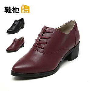 达芙妮集团 鞋柜秋款尖头系带粗跟舒时装女单鞋