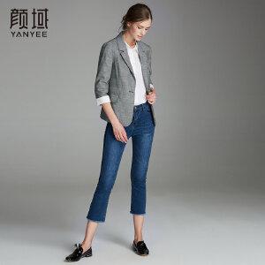 颜域秋装女2018新款品牌女装格纹西服外套简约复古女士格子小西装