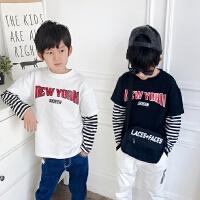 白色男童假两件t恤长袖宽松2018春季韩版拼接儿童纯棉体恤春秋款