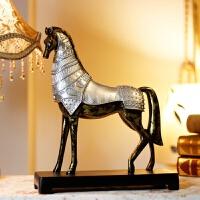 复古欧式马摆件创意家居办公室风水工艺品客厅酒柜装饰品 欧式战马摆件