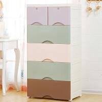 加厚抽屉式收纳柜塑料 儿童宝宝衣服五斗自由组合储物柜 简易衣柜