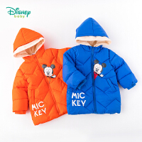 【2件3折到手价:125】迪士尼Disney童装 男童保暖夹棉外套冬季新品米奇卡通印花棉服儿童中长款上衣194S119