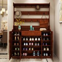 实木色鞋柜简约现代客厅门厅柜多功能衣帽挂衣架家用大容量玄关柜