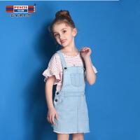【秒杀价:47】铅笔俱乐部童装2019夏季新款女童背带裙儿童牛仔裙子中大童裙子