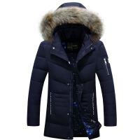 2016新款韩版男式青年中长款加厚外套大毛领男士羽绒服