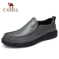 camel 骆驼男鞋 秋季新款潮流真皮套脚男光泽牛皮鞋日常休闲皮鞋