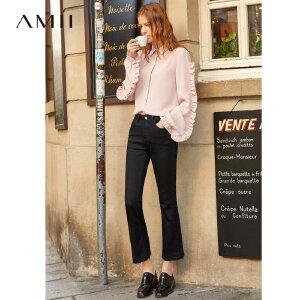 【到手价:116.9元】Amii极简博主街拍修身九分牛仔裤2019春新款棉质显瘦散边九分裤