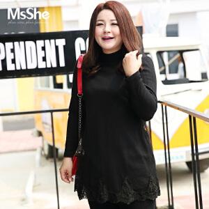MsShe加大码女装2017新款秋装胖MM网纱拼接蕾丝毛织裙衫M1640533