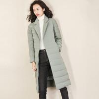 【清仓299元】轻薄羽绒服女中长款2019冬装新款修身显瘦保暖外套
