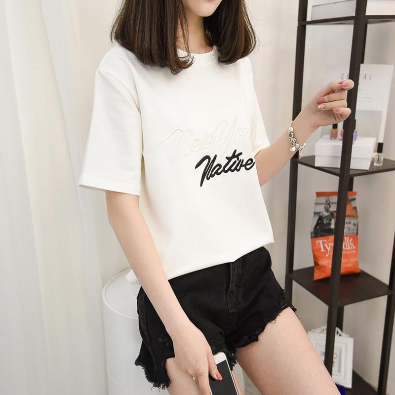 夏装2018新款女圆领套头短袖T恤女短款宽松显瘦百搭针织衫上衣女