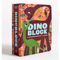 【限量现货】英文原版 Dinoblock 儿童色彩趣味认知厚书:恐龙 精装趣味认知砖块书 介绍各种恐龙(包括名字以及特性