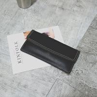 钱包女长款两折日韩学生小清新复古个性信封简约搭扣薄折叠钱夹 黑色 半盖