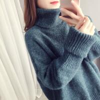 高领毛衣女宽松套头慵懒风粗毛线秋冬季