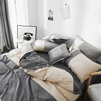 美式简约水洗棉四件套刺绣床单被套裸睡床笠被罩床上用品