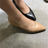 小清新 尖头高跟鞋 粗跟单鞋低跟皮面PU 浅口 裸色气质工装鞋大码