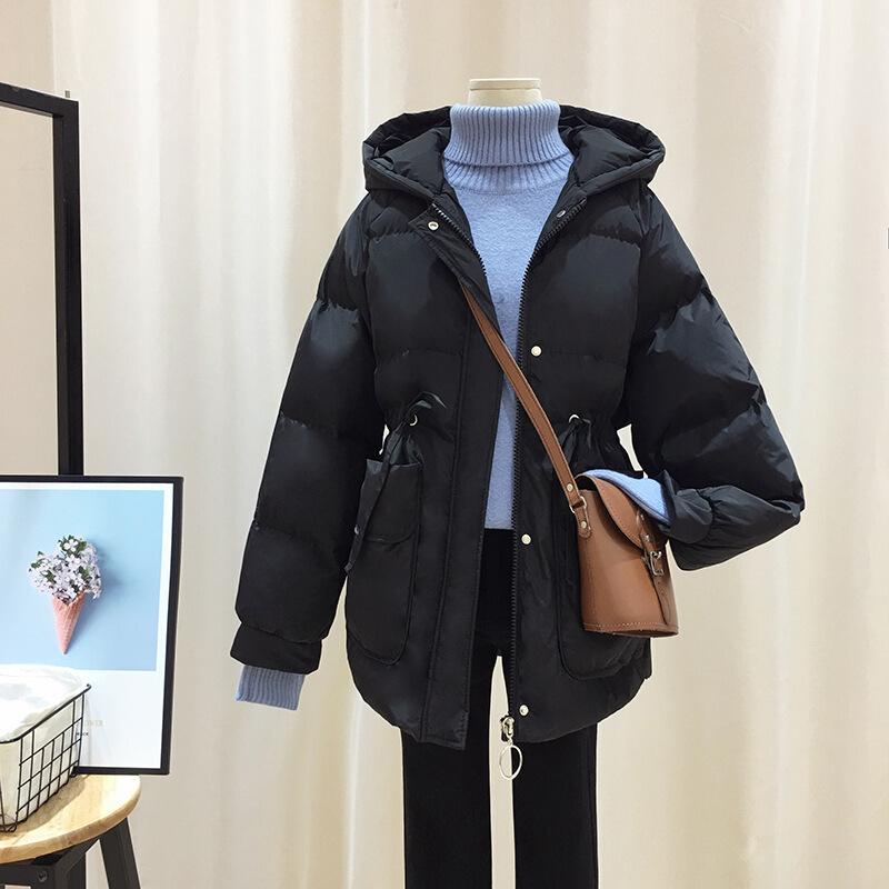 连帽收腰棉衣女冬季新款加厚2018糖果色面包服女冬季新款加厚棉衣