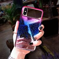 创意水滴镜面苹果xs手机壳8plus个性硅胶全包边max防摔硬iPhone6s带挂绳个性镜子7p女款 蓝紫色 6/6s