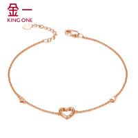 金一珠宝白18K金钻石手链女款时尚简约女手镯金链子需定制