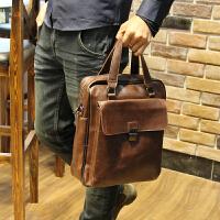 男包单肩包男斜挎包公文包休闲男士背包挎包皮包商务皮手提包 咖啡色