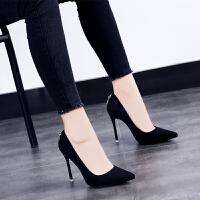 2018秋季新款高跟单鞋女细跟韩版尖头百搭黑色女鞋子优雅工作鞋