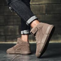 秋冬季男鞋高帮鞋男韩版潮流板鞋加绒保暖棉鞋休闲运动跑步靴鞋子