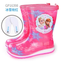 迪士尼儿童雨鞋男童女童水鞋小孩雨靴中大童水靴宝宝胶鞋四季防滑 单鞋款 冰雪玫红