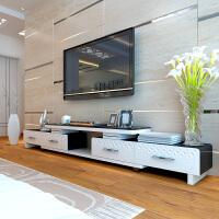 黑白电视柜 简约现代烤漆钢化玻璃客厅可伸缩影视机柜子茶几组合 1.8-2.4刻花伸缩电视柜 1211刻花 组装