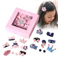 9个礼盒包装糖果公主儿童发饰套装韩国小清新布艺发夹边夹小女孩抓夹公主发卡