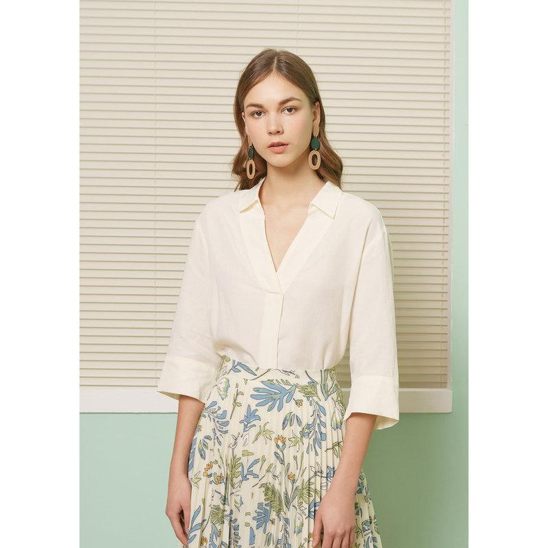 【1件4折到手价:127.6】天丝MECITY女装夏季新款韩版白色V领七分袖衬衫 美特斯邦威超品日,千款限时1件2.5折,还能叠券!