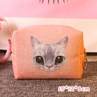便携化妆包大容量多功能收纳袋卡通猫咪小号旅行随身洗漱品小方包