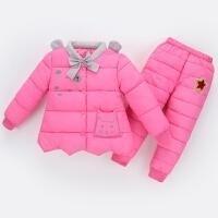 童装新款儿童羽绒套装女童加厚保暖棉衣宝宝冬内胆棉裤两件套 玫红色 可开裆
