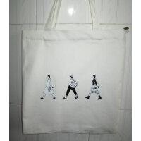 帆布包女单肩韩版文艺森系学生书包环保购物袋简约字母女包小清新 白包三人行