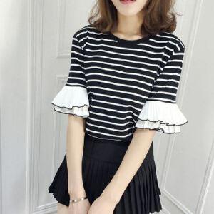 新款韩版百搭条纹拼接半袖韩范宽松显瘦短袖t恤女潮