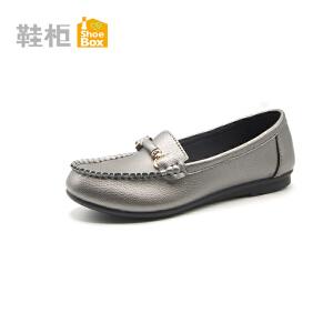 达芙妮集团 鞋柜秋款软皮圆头平跟舒适女单鞋