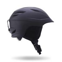 滑雪头盔男女大人大码双单板头盔滑雪运动护具装备雪盔 黑色M号 54-58cm