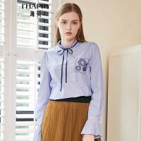 海贝2018秋季新款学院木耳花边立领系带长袖喇叭袖蓝白条纹衬衫女