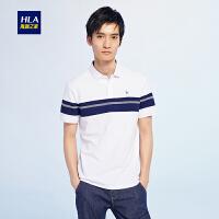 HLA/海澜之家条纹绅士短袖T恤2018夏季新品舒适短袖polo男