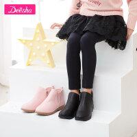 笛莎女童装2017秋季新款皮靴短靴纯色小女孩靴子鞋子
