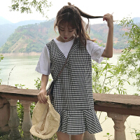 bf风连衣裙夏2018韩版女学院风宽松显瘦假两件学生格子荷叶边裙潮