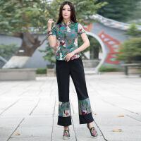 新款2018民族风棉麻长裤 拼花布小脚女士休闲裤A1006