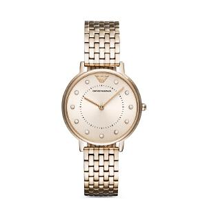 阿玛尼(Emporio Armani)手表 女表时尚休闲石英表钢带镶钻手表女AR11062