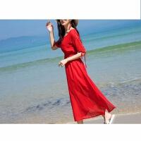巴厘岛沙滩裙女夏2018海边度假红色修身长裙显瘦海滩连衣裙仙