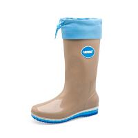 雨鞋女士冬秋时尚纯色中筒高筒防滑水靴防水鞋加绒可拆卸雨靴软底