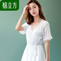 白色短袖收腰修身连衣裙女装夏季2018新款棉立方海边度假气质上衣